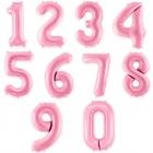 """Ciparu """"0"""" - """"9"""" formas folija balons gaiši rozā krāsa, izmērs 86cm"""
