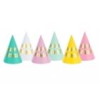 """Svētku cepurītes """"Happy Birthday"""", 11 x 16 cm, 6 krāsās pasteļtoņos, 6 gab."""