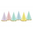 """Svētku cepurītes """"Yummy"""", 11 x 16 cm, 6 krāsas pasteļtoņos, 6 gab."""