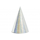 Svētku cepurītes sudraba krasa, hologrāfiskās, 11 x 16 cm, 6 gab.