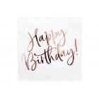 """Papīra salvetes """"Happy Birthday"""", ar rozā zelta uzrakstu,  33 x 33 cm, 20 gab."""