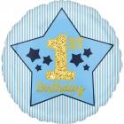 """Folijas balons """"1. dzimšanas diena"""", gaiši zils ar zeltu, 43 cm, piepūšams ar hēliju"""