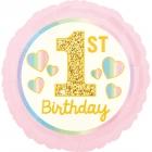 """Folijas balons """"1. dzimšanas diena"""", gaiši rozā ar zeltu, 43 cm, piepūšams ar hēliju"""