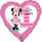 """Folijas balons """"1. dzimšanas diena – pelīte Minnija"""", 45 cm zvaigznes formas, piepūšams ar hēliju"""