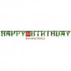 "Baneris Minecraft/TNT Happy Birthday ar ciparu ""0"" - ""9""  formas uzlīmes, 3,2m x 25cm"