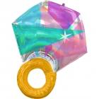 """Folijas balons """"Kāzu gredzens"""", hologrāfiskais,  piepūšams ar hēliju vai gaisu, izmērs 55 x 68 cm"""