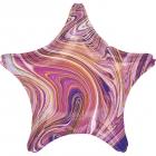 Standarta Marblez Purple Star folija balons  iepakots
