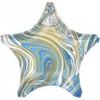 Standarta Marblez Blue Star folijas balons  Iepakots