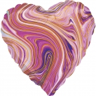 Standarta Marblez Purple Heart Foil Balloon  Iepakots
