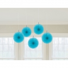 """Piekaramās papīra dekorācijas """"Vēdekļi"""", gaiši zili, 5 gab., diam. 15 cm"""