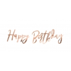 """Burtu baneris """"Happy Bithday"""", rozā zelts, 16x62 cm, laminēts papīrs"""