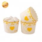 Uzkodu, cepumu papīra mini-glāze ar dubultu sirdi zelta krāsā 5 x 4.5 cm, 20 gab