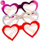 Sirds formas papīra brilles, 3 dažādas krāsas, komplektā 3 gab.