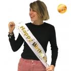 """Dzimšanas dienas lente """"Happy Birthday"""", balta, ar uzrakstu zelta krāsā"""