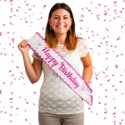 "Dzimšanas dienas lente ""Happy Birthday"", gaiši rozā gliteri krāsā"