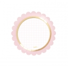 Papīra šķīvji, gaiši rozā ar zelta apmali, 18 cm, 8 gab.