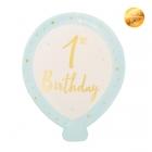 Šķīvji gaisa balona  formā 1. Dzimšanas Diena, gaiši zili ar zeltu, 8 gab., 20x24 cm