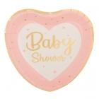 Šķīvji sirds formā BABY SHOWER rozā un zelta toņos, 8 gab., 23x21 cm