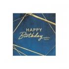 Salvetes Dzimšanas Diena zilos un zelta toņos, 33 x 33 cm, 16 gab., trīsslāņu