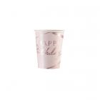 Glāzītes Dzimšanas Diena rozā un zelta toņos, 250 ml, 8  gab.