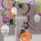 30 Swirl Decorations Halloween Spiders Foil / Paper 61 cm