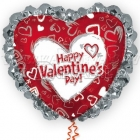 Folijas hēlija balons Valentīna Dienai, ar kruzuli, izmērs 80cm