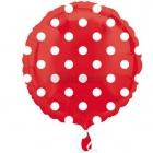 """Sarkans folijas balons ar baltiem punktiņiem  izmērs 17""""/43cm"""