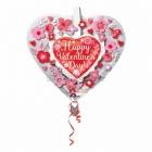 Balons balonā Valentindienai  Sirds Un Puķes, izmērs 66 cm., piepūšams ar hēliju