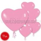 Pastels, rozā,  sirdsveida lateksa baloni 15.gab.
