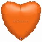 Oranžs sirds  folijas balons  izmērs 43 cm