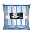 Plastmasas vīna vai šampanieša glāzes ar gaiši zilu kājiņu, 10. gab.
