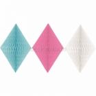 Papīra - piekaru dekorācija, baltā, rozā, turkīza, iepakojums 3 gab.