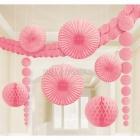 Papīra dekorāciju komplekts rozā. 9 priekšmeti