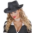 Melna cepure gangsteres ballītē, satīns