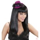 Rozā mini cepure, ar divām violētām rozēm un spalvām