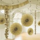 Piekaramo dekorāciju komplekts zeltā krāsā, 18 priekšmeti no zīdpapīra un folijas