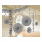 Piekaramo dekorāciju komplekts sudrabā krāsā, 18 priekšmeti no zīdpapīra un folijas