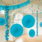 Piekaramo dekorāciju komplekts gaiši zilā krāsā, 18 priekšmeti no zīdpapīra un folijas