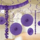 Piekaramo dekorāciju komplekts violetā krāsā, 18 priekšmeti no zīdpapīra un folijas