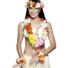 Havaju ziedu virteņu komplekts, krāsains, komplektā ietilpst galvas, kakla un roku virtenes.