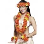 Havaju ziedu virteņu komplekts, sarkans. Komplektā ietilpst galvas, kakla un roku virtenes.