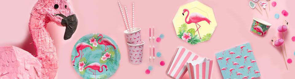 Flamingo paradīze - svētku dekorācijas, hēlija baloni, vienreizējie trauki, galda rotašana