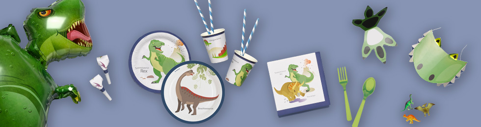 Dzimšanas diena dinozauru stilā - dekorācijas, hēlija baloni, trauki,  svētku cepurītes  dinozauru stila ballītes rotāšanai.