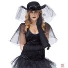 Melnu mini cepure ar plivuru, puķu un zirnekli