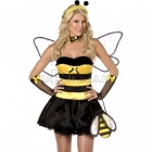 Saldas bitites kostims, dzeltens un melns, kleita, korsete, sparni un radzini
