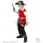 Pirātu kapteiņa tērps - mētelis ar kreklu, bikses, josta un cepure. Izmērs 140cm, 8-10 gādi