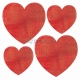Sirsniņas 10gb paka - Spīdīgas sirsniņas komplekts, 10gb - 5x10cm, 2x18cm, 3x14cm sarkanas sirsniņas ar gliteru