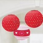 Telpu dekorēšana paka Valentīna dienai -  sarkani un balti papīra baloni, 3 gab., diam. 25cm