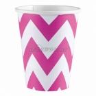 ZIGZAG Papīra glāzes, Koši rozā krāsa, 256 ml, 8.gab.