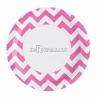 ZIGZAG Papīra šķivji, Koši rozā krāsa, 33 cm, 8.gab.